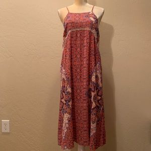 EVERLY Boho Floral Print Maxi Dress Lace Trim